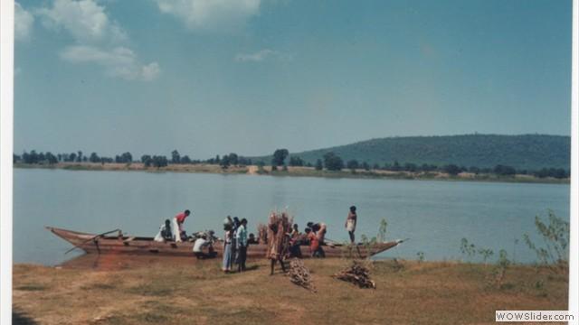 crossing river in village area